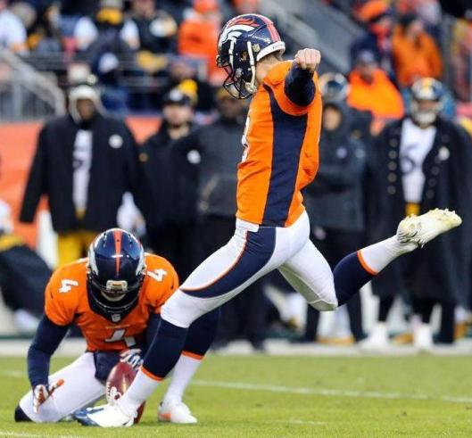 Brandon McManus successfully kicked five field goals for the Broncos Sunday in the divisional round game in Denver against the Pittsburgh Steelers. (Denver Broncos photo)