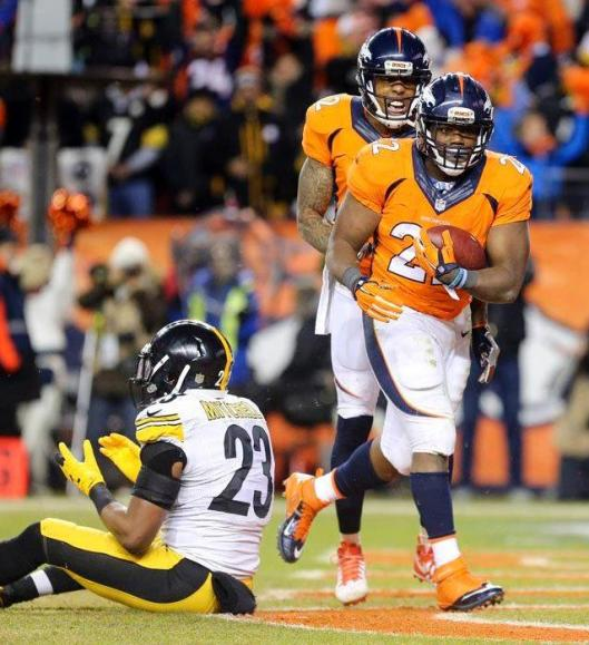 Running back C.J. Anderson scored the Broncos' only touchdown of the game Sunday.  (Denver Broncos photo)