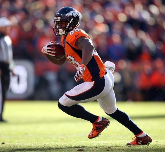 Demaryius Thomas     scored a 2-point conversion for the Broncos Sunday. (Denver Broncos photo)