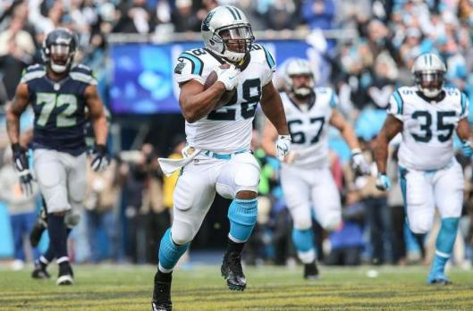 Panther running back Jonathan Stewart scored two touchdowns in the first half of the game Sunday.  (Carolina Panthers photo)