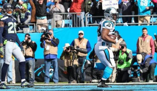 Jonathan Stewart after scoring a Panther touchdown Sunday. (Carolina Panthers photo)