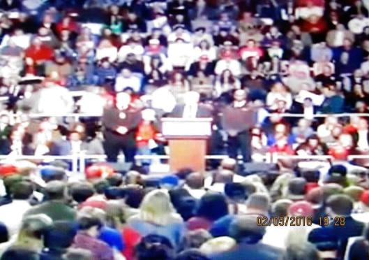 Donald Trump starts to speak to the crowd.