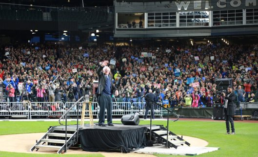 Bernie Sanders addressed supporters Friday in Seattle at Safeco Field, home of the Seattle Mariners baseball team.  (BernieSanders.com photo)