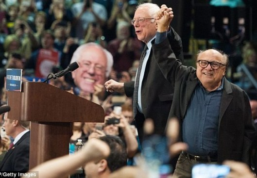 Bernie Sanders and Danny DeVito at a rally in St. Louis Sunday. (Getty image)