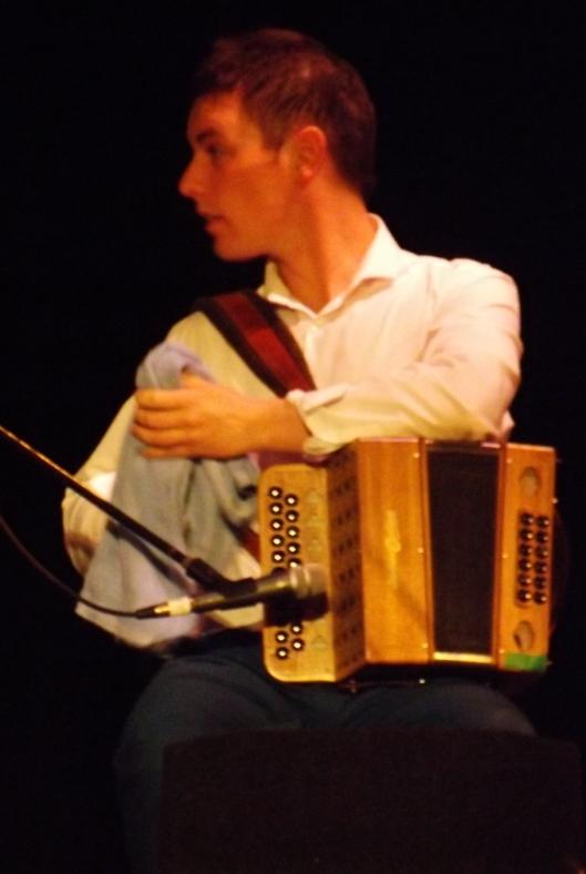 Derek Morrissey, button accordion player with Caldah Nua (Hill 'n Holler staff photo By Mariann Hyslop)