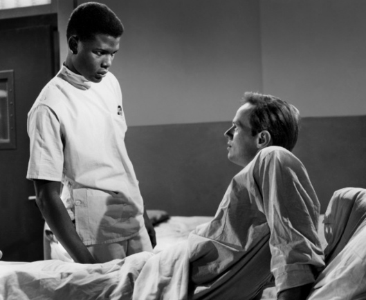 """Sidney Poitier as Dr. Luther Brooks and Richard Widmark as the psychopathic racist Ray Biddle in """"No Way Out."""""""