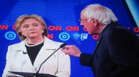 Bernie Sanders addresses Hillary Clinton in the CNN-televised debate Thursday night.  (Hill 'n Holler photo of CNN debate broadcast on line)