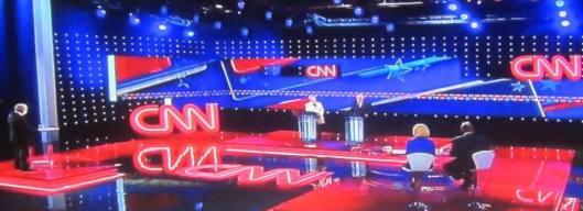 The debate scene.  (Hill 'n Holler photo of CNN debate broadcast on line)
