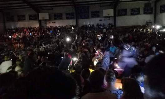 It was in the dark for the high school graduation Monday night. (Facebook photo)