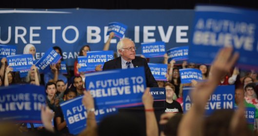 Bernie Sanders issued a victory statement Tuesday night while at  a rally in Salem, Ore. (berniesanders.com photo)