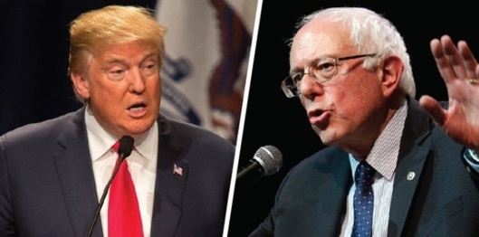 Donald Trump and Bernie Sanders (Huffington Post image)