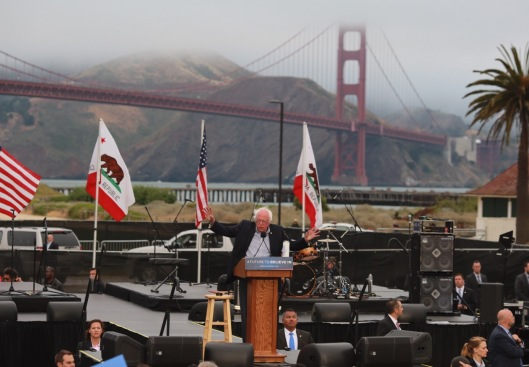 Bernie Sanders at a rally with the Golden Gate Bridge in the background. (berniesanders.com photo)