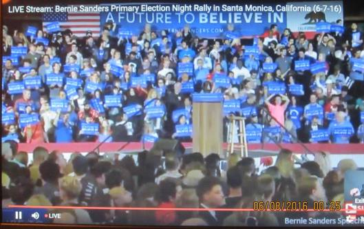 Followers of Bernie Sanders wait for him to appear at the  rally in Santa Monica. (Hill 'n Holler photo of live stream)