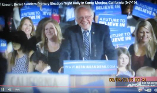 Bernie Sanders and his wife Jane at the rally in Santa Monica (Hill 'n Holler photo of live stream)