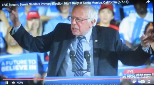 Bernie Sanders addressed 3,300 followers at a rally in Santa Monica Tuesday night an hour and a half after the polls closed in the California presidential primary. (Hill 'n Holler photo of live stream)