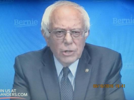 Bernie Sanders Thursday night (Hill 'n Holler photo of live stream broadcast)