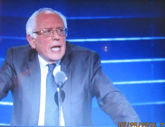 Bernie Sanders speaks to the Democratic National Convention in Philadelphia Monday night.  (Hill 'n Holler photo from official DNC 2016 live stream)