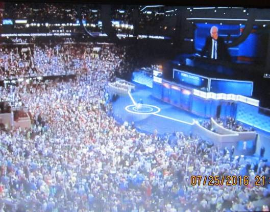Those at the Democratic National Convention Monday night listen to Bernie Sanders.  (Hill 'n Holler photo from official DNC 2016 live stream)