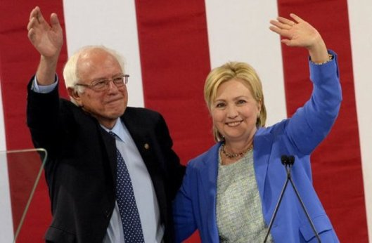 Bernie Sanders and Hillary Clinton in Portsmouth, N.H Tuesday. (NPR photo)