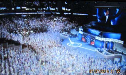 The crowd at the Democratic National Convention Wednesday night welcomes President Barack Obama.  (Hill 'n Holler photo from official DNC 2016 live stream)