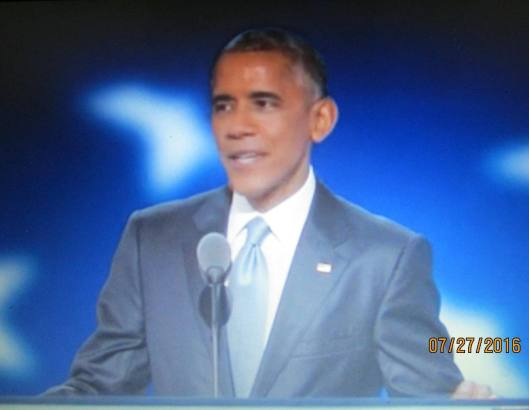 President Barack Obama speaks at the Democratic National Convention Wednesday night.  (Hill 'n Holler photo from official DNC 2016 live stream)