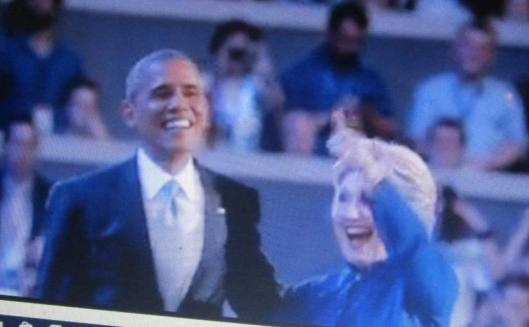 Hillary Clinton greeted President Barack Obama after his speech at the Democratic National Convention Wednesday night.  (Hill 'n Holler photo from official DNC 2016 live stream)
