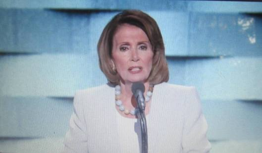 Former House Speaker Nancy Pelosi of California strongly endorsed Hillary Clinton Thursday night. (Hill 'n Holler photo from official DNC 2016 live stream)