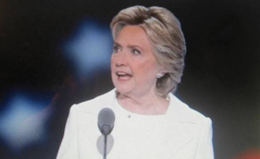Hillary Clinton speaks at the convention Thursday night. (Hill 'n Holler photo from official DNC 2016 live stream)