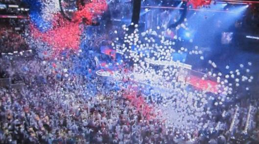 And the balloons came down.  (Hill 'n Holler photo from official DNC 2016 live stream)