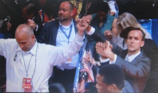 Joining hands in unity. (Hill 'n Holler photo from official DNC 2016 live stream)