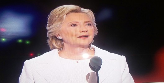 Hillary Clinton delivers her acceptance speech at the Democratic National Convention Thursday night.  (Hill 'n Holler photo)