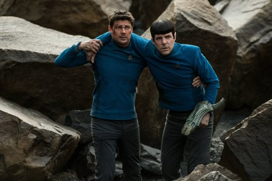 "Karl Urban as Dr. ""Bones"" McCoy and Zachary Quinto as Spock"