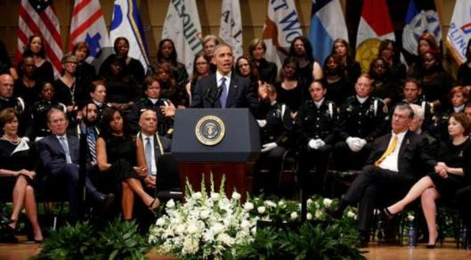 President Barack Obama speaks during the memorial service Tuesday in Dallas, Tex. (wnpr.org photo)