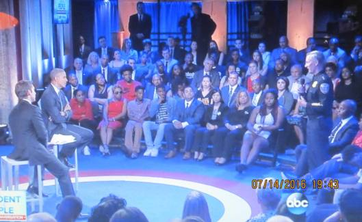 President Obama listens to a police chief during his town hall Thursday. (Hill 'n Holler photo of ABC-TV on line)