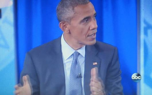 President Obama speaks during his town hall. (Hill 'n Holler photo of ABC-TV on line)