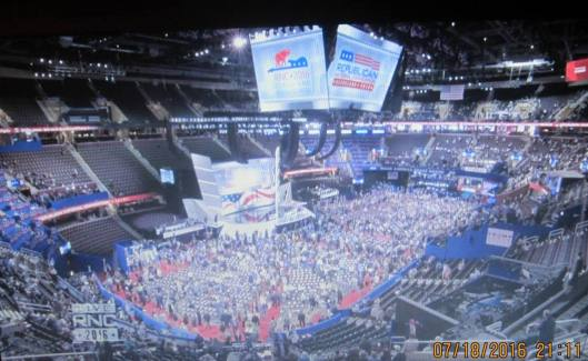 The Republican National Convention Monday night (Hill 'n Holler photo of official RNC live stream)