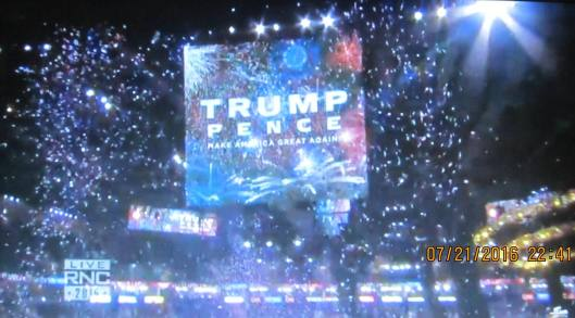 At the close of the convention  (Hill 'n Holler photo from official RNC 2016 live stream)