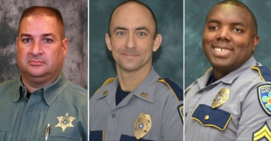 Slain officers Deputy Brad Garafola, Police Officer Matthew Gerald, and Police Cpl. Montrell Jackson