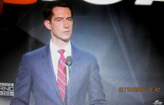 Tom Cotton, U.S. Senator from Arkansas, speaks Monday night at the Republican Nation Convention (Hill 'n Holler photo of official RNC live stream)