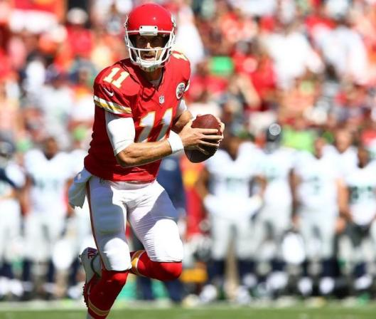 Quarterback Alex Smith piloted the Kansas City Chiefs toward their first touchdown in their opening drive in the game against the Seattle Seahawks in Kansas City Saturday. (Kansas City Chiefs Photo)