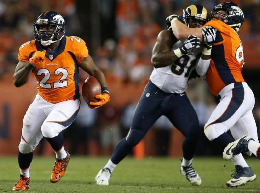 C.J. Anderson led the Broncos in rushing Saturday with 11 carries for 50 yards. (Denver Broncos photo by Gabriel Christus)