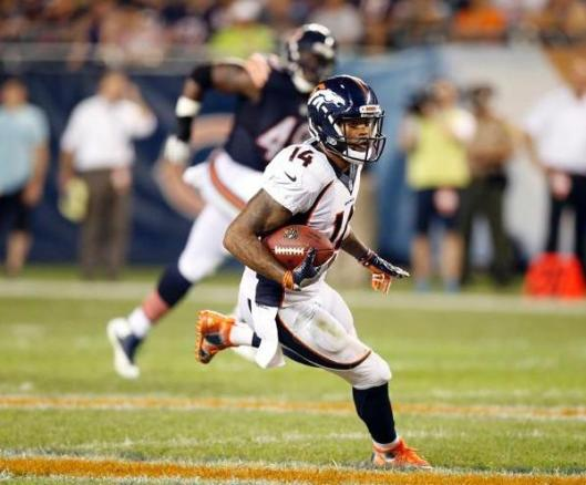 Wide receiver Cody Latimer led the Broncos Thursday night with seven receptions for 82 yards.  (Denver Broncos photo by Steve Woltmann)