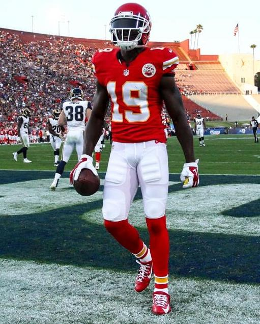 Wide receiver Jeremy Maclin scored the second Chiefs touchdown Saturday night but was ejected from the game before the end of the first half for unsportsmanlike conduct.  (Kansas City Chiefs Photo)