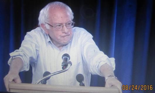 Bernie Sanders Wedneday night. (Hill 'n Holler photo from berniesanders.com Live Stream)