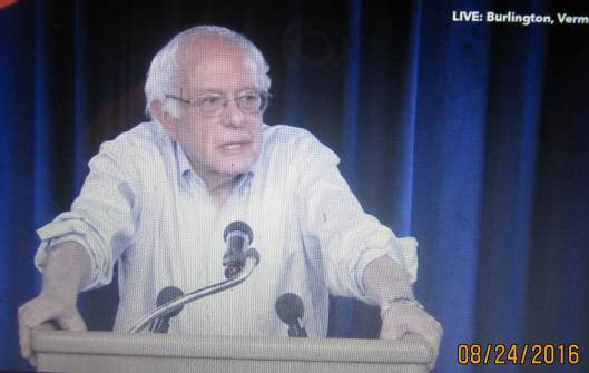 U.S. Sen. Bernie Sanders talking about the inauguration of Our Revolution Wednesday night. (Hill 'n Holler photo from berniesanders.com Live Stream)