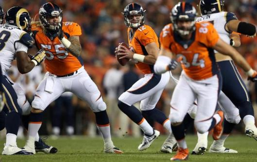 Paxton Lynch was the quarterback for the second half of the game against the Rams Saturday. (Denver Broncos photo by Gabriel Christus)