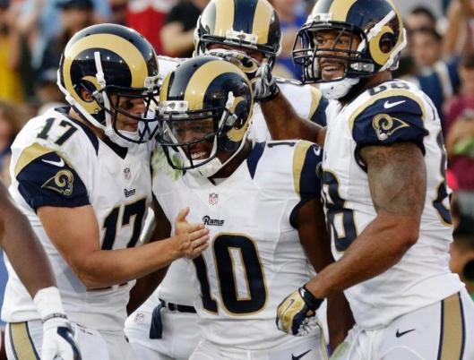 Rookie wide receiver Pharoh Cooper (#10) scored the second Rams touchdown. (Los Angeles Rams Photo)