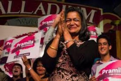 Pramila Jayapal with some of her supporters (photo from campaign web site)