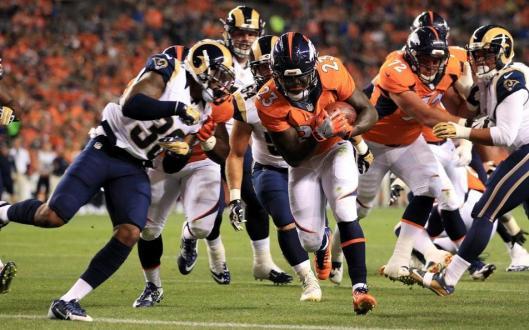 Ronnie Hillman scored the second Broncos touchdown Saturday. (Denver Broncos photo by Gabriel Christus)