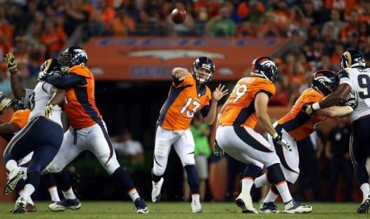 Quarterback Trevor Siemian displayed his talents in the first half of the game against the Los Angeles Rams Saturday night. (Denver Broncos photo by Gabriel Christus)
